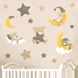 Childrens-Teddybears-amp-Stars-Brown-15-Pack-Wall-Stickers-Nursery-Teddy-Bears