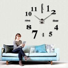 Modern Large DIY Wall Clock 3D Black Number Sticker Home Office Decor Watch New