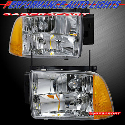 Pair Euro Clear Composite Type Headlights For 1995 1997 Chevrolet Blazer
