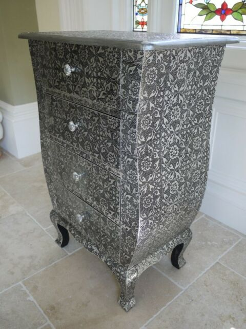 Blackened Silver Embossed 4 Drawer Chest Bedside Table Cabinet Marrakesh