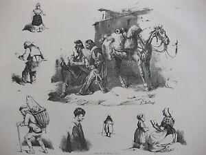 Lithographie-ancienne-originale-Bellange-costumes-romantisme-Marechal-ferrant