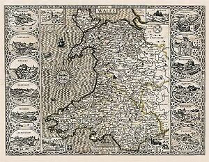 MAP-1610-SPEED-WALES-MAJOR-PLACES-INSET-PICTORIAL-REPLICA-POSTER-PRINT-PAM0020