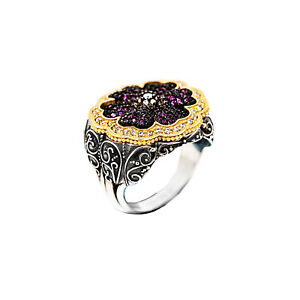 Details about Dimitrios Exclusive Silver Gold Plating Art Deco Flower Pink  Stone Size 8 5