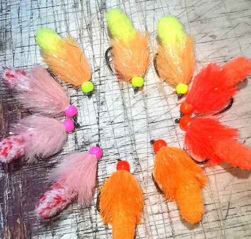 10x Assorted Wotsit Mop Fly size 10 Mitten BARBLESS