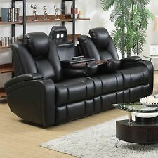 Reclining Power Sofa Set Sofa Love-seat Recliner 3Pc Console LED Living Room Set