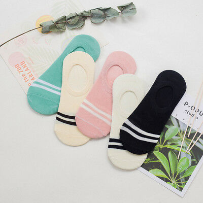 5 Pairs Women Invisible No Show Nonslip Loafer Boat10 Liner Low Cut Cotton Socks