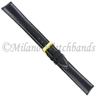 18mm Morellato Black Genuine Calfskin Leather Padded Stitched Watch Band XL 709