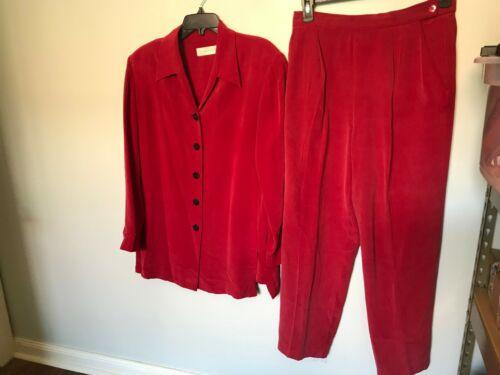 Dana Buchman Red Silk Pant Suit - Size M