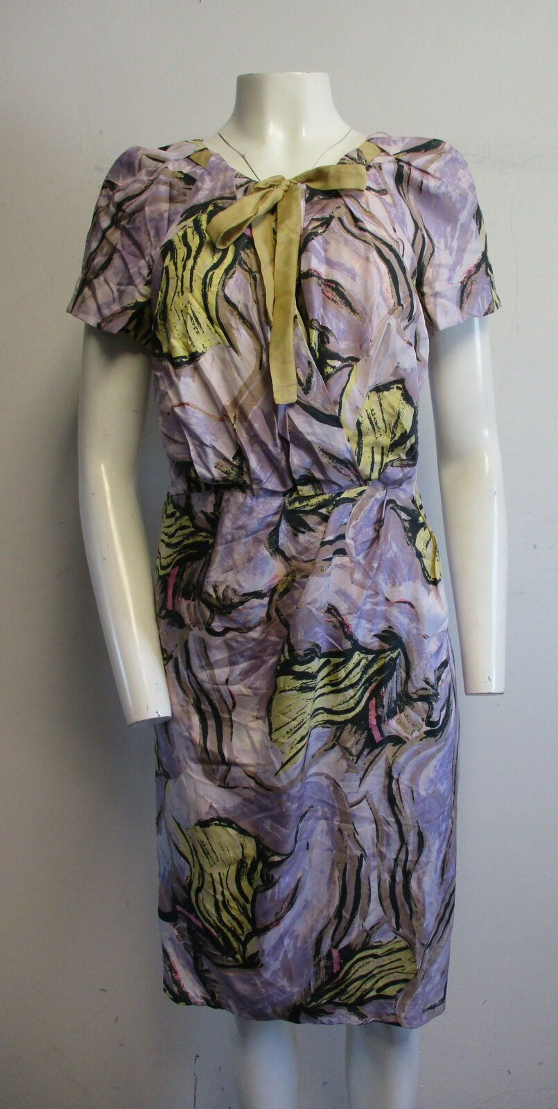 ALBERTA FERRETTI 100% silk lavender multiFarbe crotver sheath dress sz M  L