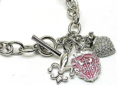 Silver Austrian Fleur De Lis Heart Crystal Crown /& Shield Charm Bracelet  NEW