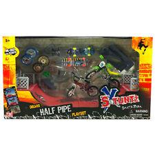 X STUNTZ SKATE PARK DELUXE HALF PIPE FINGER BIKE SKATEBOARD PLAY SET TOY