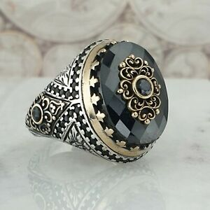 Solide-925-Sterling-Zilver-Mens-Ring-Zwart-Onyx-Edelsteen-Handgemaakt-18-60gr