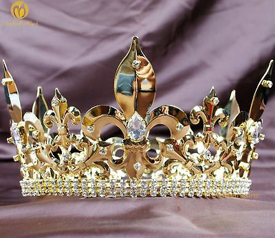 "Men Imperial Tiara Diadem Fleur De Lis 4.25/"" Full Round Crown Pageant Costumes"
