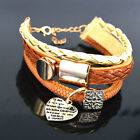 Handmade Multilayer Bracelet Leather Braided Infinity Charms Cuff Bangle Womens