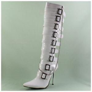 High-Heels-Stiefel-Gr-41-spitze-Lackstiefel-weiss-mit-Kette-3374