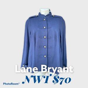 $70 NWT Lane Bryant Military Stretch Blazer Jacket Navy Blue Brass Buttons Sz 16