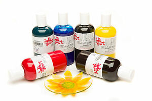 GLASS PAINT SET 7 COLOURS 150ml BOTTLES OF GLASCOL ART PAINTING FOR JARS BOTTLES