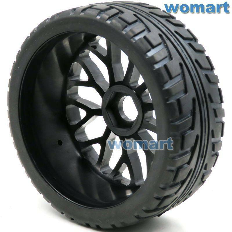 4pcs RC 1 8 Tires Tyres 100mm 100mm 100mm & 1 8 Wheels Rims Hex 17mm For RC HPI On-Road Car 2f338b