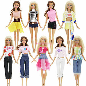 Menge 5 Sets Outfits Top Hosen Rock Bademode Kleidung Für Barbie Puppe Geschenk