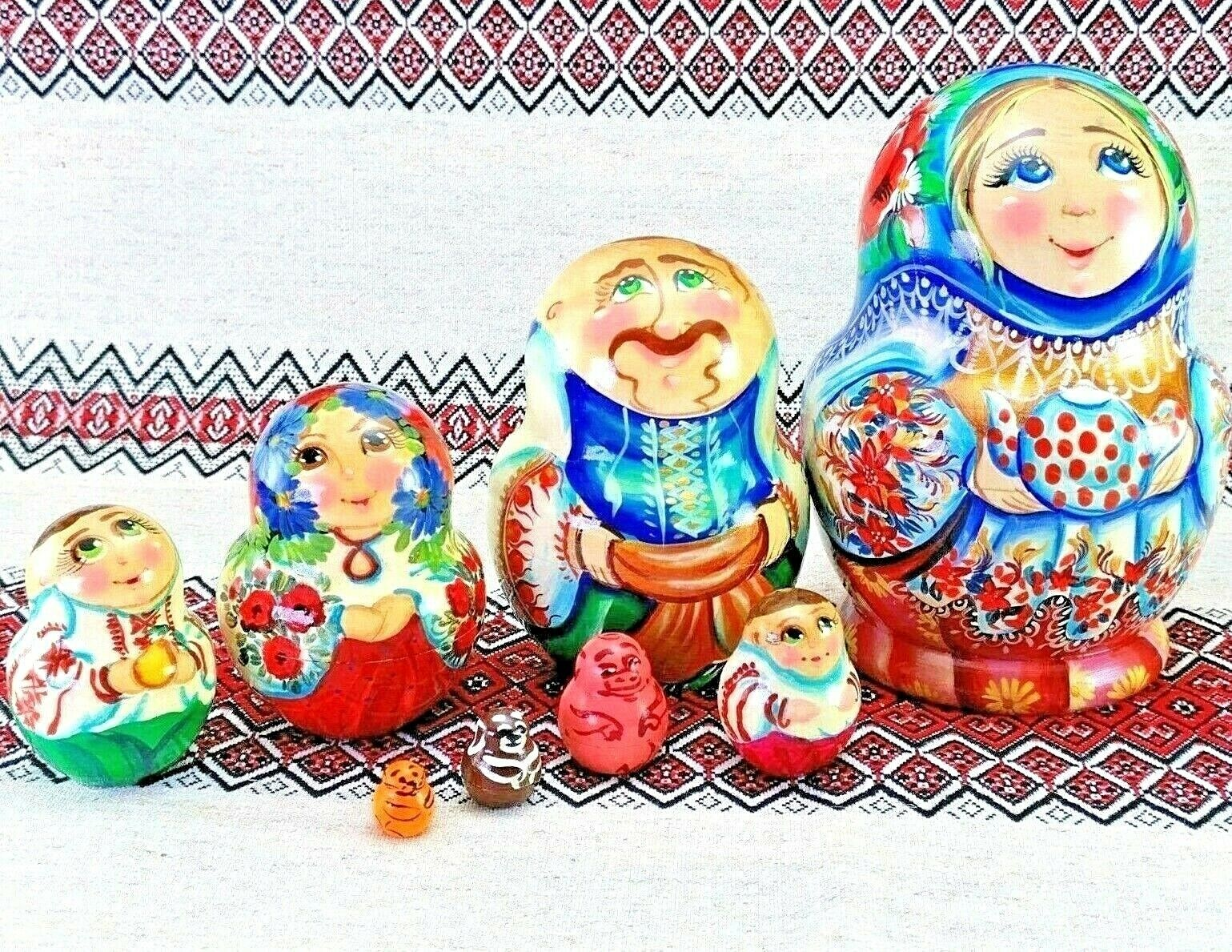 8pc New 5  Author's Handmade Painted Wooden Nesting Doll Home Decor Folk Art