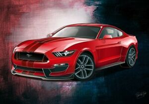 Print on canvas 2016 Ford Mustang Fastback Shelby GT350 by artist Ron de Haer