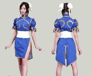 Chun Li Blue Dress Anime Street Fighter Cos Lolita Girl Cosplay :Viy10
