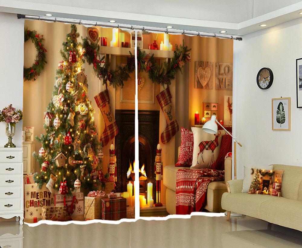 3D Navidad Navidad 768 Blockout Foto Impresión Cortinas Cortinas Ventana De Tela Reino Unido