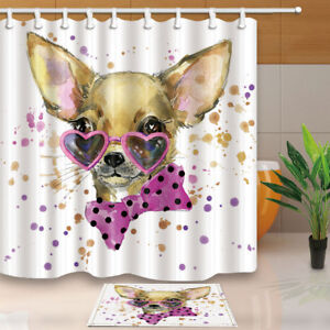 Image Is Loading New Watercolor Chihuahua Dog With Glasses Shower Curtain