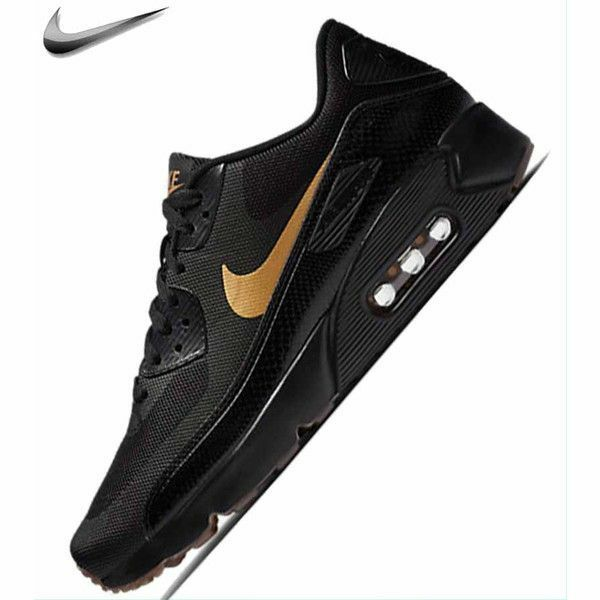 NIKE NIKE NIKE AIR MAX 90 ULTRA 2.0 ESSENTIAL 875695-016 BLACK METALLIC gold Mens Sz 9 59e023