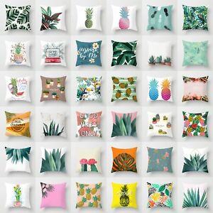 Tropical-Plants-Cactus-Polyester-Pillow-Case-Throw-Cushion-Cover-Home-Decor