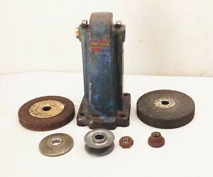Vtg-antique-cast-iron-belt-pulley-drive-driven-bench-tool-post-grinder-6-034