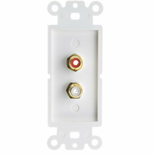 ACL Decora Wall Plate Insert Female RCA Stereo Couplers Red//White White 5pk