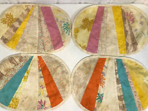 4-Pc-Set-Of-Vintage-Handmade-Fabric-Placemats-Striped-Design