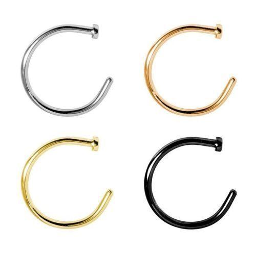 4pcs Nose Hoop Rings 316L Surgical Steel Gold Black Silver Rose Gold
