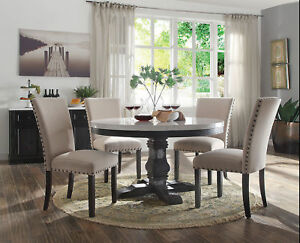 Details About New 54 Round White Marble Weathered Black Wood Dining Table W 4 Beige Linen Set
