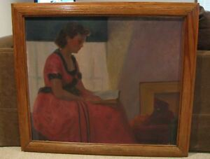 LARGE-Antq-OIL-ON-CANVAS-PAINTING-Kansas-Artist-VERA-MARTIN-PORTRAIT-OF-LADY