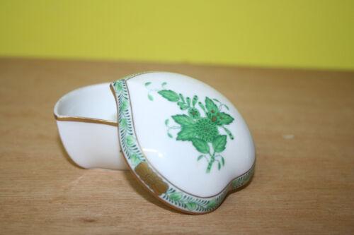Pillendose Süßstoffdose Herend Apponyi grün Herzchendose