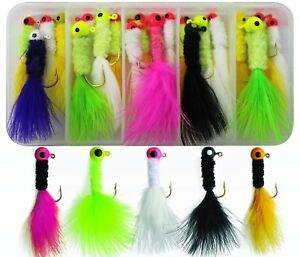 Colorful-20pc-Crappie-Jigs-Lead-Head-Hook-With-Marabou-Chenille-For-Fishing-Jig