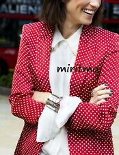 RARE ZARA WOMAN BLAZER RED POLKA DOT SILK FEEL LINED COAT JACKET MEDIUM - M