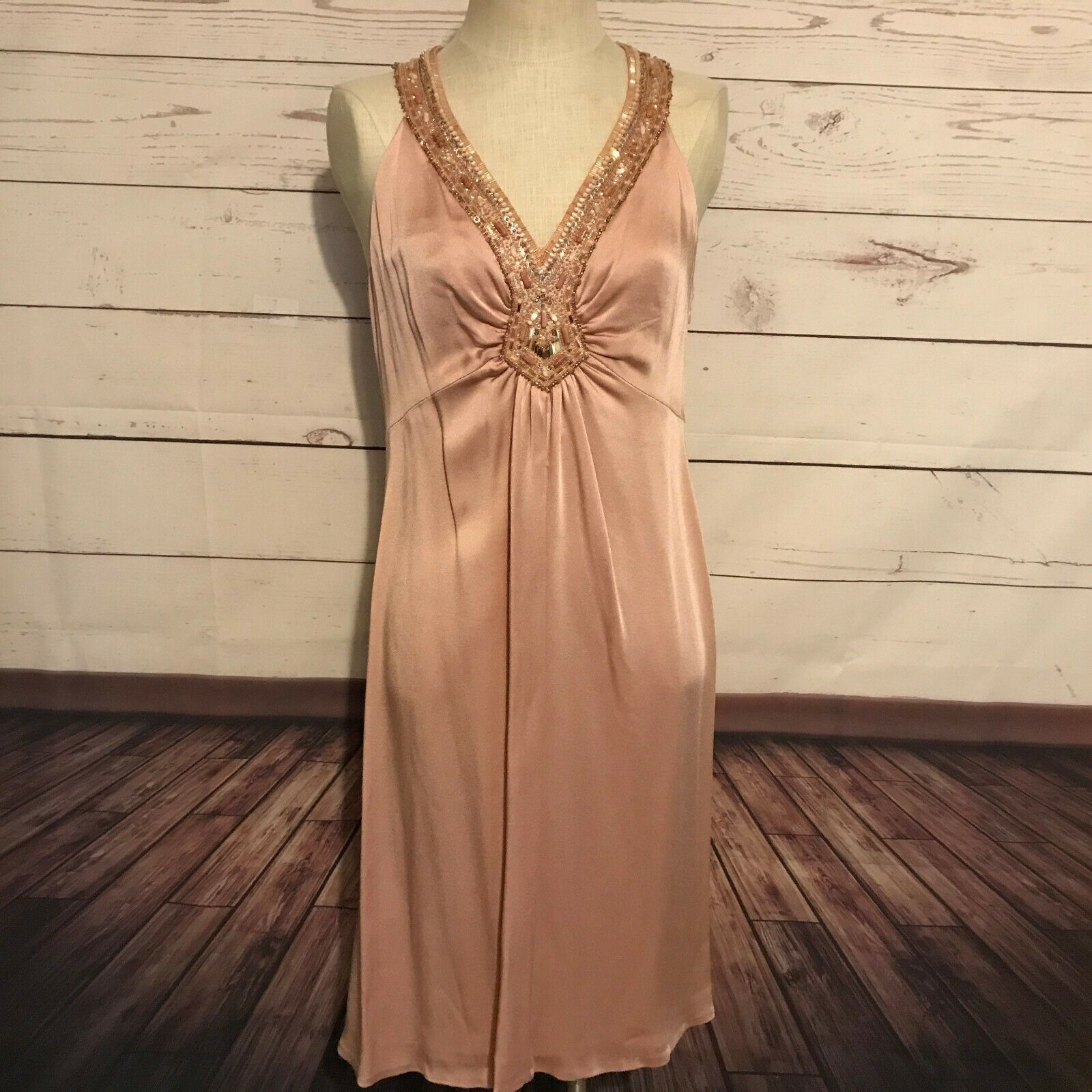 Lafayette 148 New York mauve pink dress sleeveless lined beaded sequins size 10