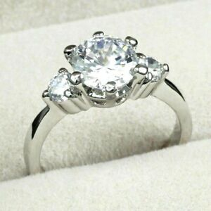 6ccca9015fecf Details about WHITE GOLD GP ROUND CUT LAB DIAMOND CLASSIC ENGAGEMENT  WEDDING PARTY RING
