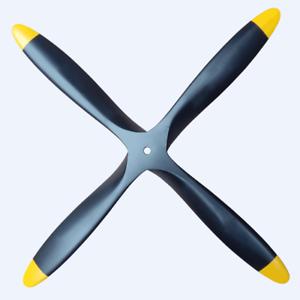 4 Blade 22x8 Pulgadas Negro + Amarillo Hélice CW haya de madera de utilería para radio control Avión