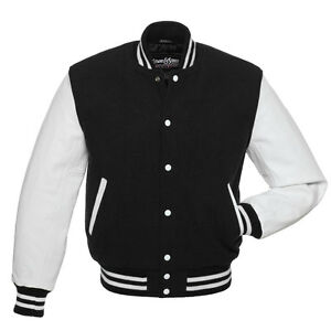 Stewart & Strauss Black Wool & White Leather Varsity Letterman ...