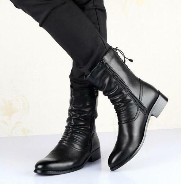 Men Casual Pointed Toe High Top Mid-Calf Boots Dress Formal Military shoes Zsell