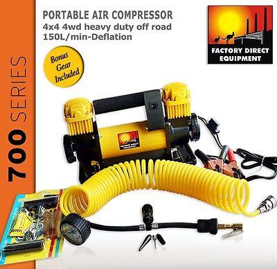 FDE 12v portable air compressor 4x4 4wd heavy duty off road. 150L/min-Deflation