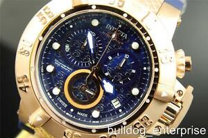 Mens-Invicta-Subaqua-Noma-III-Rose-Gold-Blue-Chronograph-Swiss-Made-Watch-New