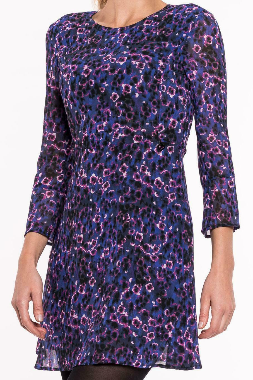 GAUDI - Kleid Damen blau lila Rundhals Abendkleid Freizeitkleid