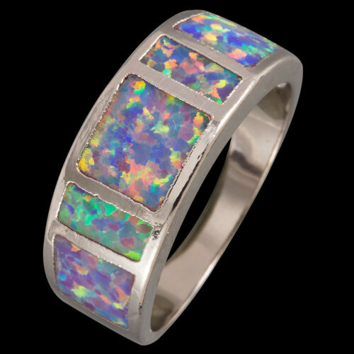 Simple Lavender Purple Fire Opal Silver Jewelry Band Anneau US Taille 6 7 8 9 10