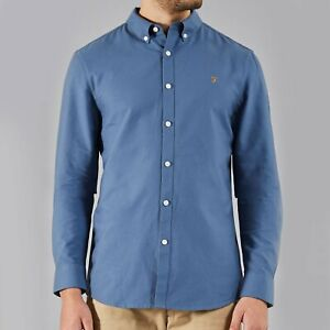 77de0db8e71d Image is loading Farah-Brewer-Long-Sleeve-Shirt-Cornflower-Blue-Size-