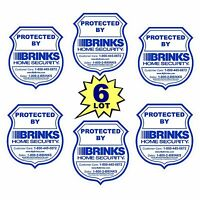 6 BRINKS ADT HOME SECURITY MONITORING SYSTEM ALARM WINDOW DECALS WARNING STICKER